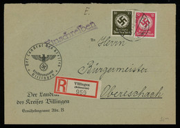 TREASURE HUNT [00741] Germany 1943 Off. Reg. Cover From Willingen To Oberschach With Swastika 12 Pf+30 Pf Officials - Lettres & Documents