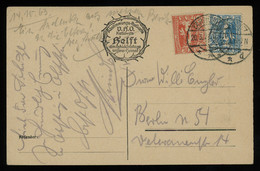 TREASURE HUNT [00754] Upper Silesia 1921 Ill. Post Card Sent From Tarnowitz To Berlin Bearing 10 Pf Red+20 Pf Blue - Silezië (Opper- En Neder-)