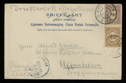 TREASURE HUNT [00763] Netherlands 1905 Picture Post Card From Amsterdam To Germany, Numeral Issue 1/2c Violet+2c Brown - Brieven En Documenten