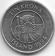 *iceland 1 Krona  1994  Km 27a    Unc/ms63 - Islandia