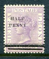 Sierra Leone 1893 QV - Wmk Crown CA - Surcharge - ½d On1½d Pale Violet HM (SG 39) - Sierra Leone (...-1960)