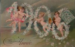 Belle Illustrée Gaufrée :  Anges De L'année 1906 . BONNE ANNEE - New Year