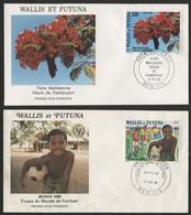 Wallis Et Futuna Enveloppes PREMIER JOUR N° 336 Et 343 Coupe Du Monde Mexico 1986 Et Flore. - FDC