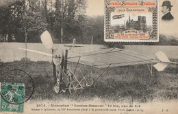 CARTE POSTALE ORIGINALE ANCIENNE : REIMS LA GRANDE SEMAINE DE L'AVIATION  AOUT 1909 LE MONOPLAN SANTOS DUMONT MARNE (51) - Reims