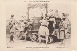 CARTE POSTALE ORIGINALE ANCIENNE : SUR LE FRONT GUERRE DE 1914/18 UNE MITRAILLEUSE ANTI AERIENNE SUR AUTO CHENILLE - Weltkrieg 1914-18