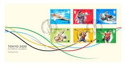 2021 NEW *** Singapore Tokyo 2020 Olympic Games Complete Set FDC Cover Shooting ,Badminton ,Table Tennis, Aquatics (**) - Singapore (1959-...)