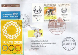 TOKYO OLYMPICS 2020. Lettre Spéciale Tokyo Village, Compétition De JUDO, Adressée Andorra,avec Timbre à Date Arrivée - Judo
