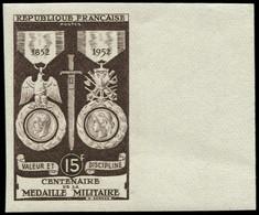 FRANCE Essais De Couleurs ** - 927, Monochrome Brun, Bdf: 15f. Médaille Militaire (Spink) - Cote: 110 - Proefdrukken