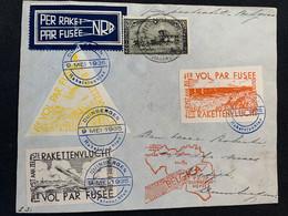 Belgique TP Sur 1er Vol Par Fusée Zeemeeuw Effectué à Duinbergen Le 9 Mai 1935 (E7, E8 Et E9 Commémoratifs). - Airmail