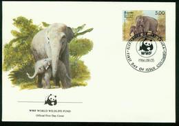 Fd Sri Lanka FDC 1986 MiNr 754   Endangered Species Conservation. Sri Lanka Wild Elephant. Cow Elephant And Calf. WWF - Sri Lanka (Ceylon) (1948-...)