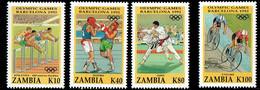 Zambia 1992, Summer Olympics, Barcelona: Hürdenlauf/Bahnradsport, Hurdles/Boxing/Judo/Track Cycling, MiNr. 615 - 618 - Verano 1992: Barcelona