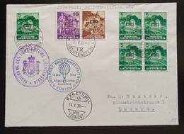 Liechtenstein Dienstpost FLUGPOST 1939, Brief MiF VADUZ Ballonwettfliegen Zürich - Servizio