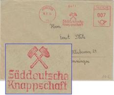 BRD - Süddeutsche Knappschaft 7 Pfg. AFS Drucksache München - Illerbeuren 1954 - Factories & Industries