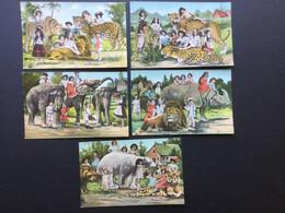 5 Antieke Pk Fantasie  Kinderen En Dieren (K.V.L.B. 12 Serie1780) - Baby's