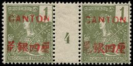 """CANTON Poste ** - 33, Paire Millésime """"4"""": 1c. Vert-olive Foncé (Maury) - Cote: 220 - Unused Stamps"""