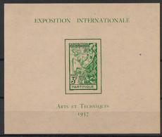 Martinique - 1937 - Bloc Feuillet BF N°Yv. 1 - Exposition Internationale - Neuf Luxe ** / MNH / Postfrisch - Blocs-feuillets