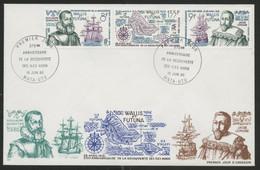 Wallis Et Futuna Enveloppes PREMIER JOUR N° 346A Triptyque Pour L'anniversaire De La Découverte Des Iles Horn - FDC