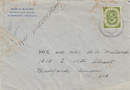 LETTRE. BUND. METROPOLE HOTEL WIESBADEN. 90Pf. Mi 138. EF. POUR OREGON USA   / 2 - Lettres & Documents