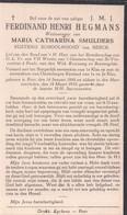 Doodsprentje Ferdinand Henri Hegmans (x Maria Catharina Smulders ) Rustend Schoolhoofd Van Beeck ° Peer 1866-1933 - Images Religieuses