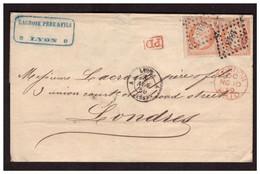 Timbre N° 16 X 2  Sur Lettre De LYON Pour LONDRES Du 8.11.1859. - 1853-1860 Napoleon III