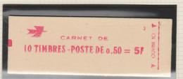 FRANCE CARNET FERME DE 10 TIMBRES BEQUET 0,50 ROUGE 1664 C1 DATE 04-02-71 - Freimarke