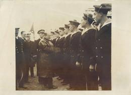 PHOTOGRAPHIE ANCIENNE : L'EQUIPAGE DU SOUS-MARIN PONCELET MR DALADIER ET MR CAMPINCHI AMIRAL DARLAN SUBMARIN U-BOAT  WAR - Submarines