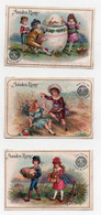 Chromo Amidon Rémy Oeufs De Pâques Enfants Fille Garçon Couple Peintre Lapin (3 Chromos) - Guerin Boutron