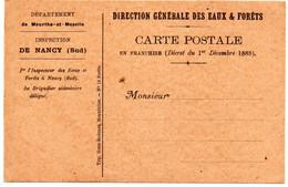 CP En Franchise  Inspection De Nancy (sud)  De La Direction Générale  Des Eaux & Forêts - Nancy