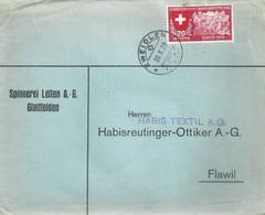 "Motiv Brief  ""Spinnerei Letten AG, Glattfelden""  Zweidlen         1939 - Storia Postale"