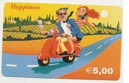 Scheda Carta Telefonica Internazionale HAPPINESS Prepagata 5,00 Euro, Usata. - Unclassified
