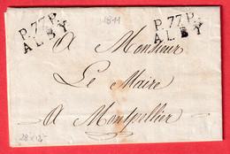 MARQUE P77P ALBY ALBI TARN 1811 28X12 POUR MONTPELLIER HERAULT INDICE 9 TEXTE SIGNE DU MAIRE D'ALBI - 1801-1848: Précurseurs XIX