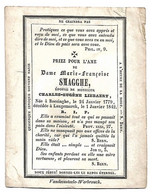 Marie-Françoise  SMAGGHE - Liebaert - Boezinge - Langemark - 1779 / 1842 - Sint-Lucas (voorzijde) - Religion & Esotérisme