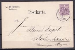 Wuerttemberg - 1885 - Heilbronn Nach Rabenhausen - Lettres