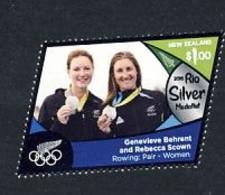NZ Nouvelle Zélande JO De Rio 2016 Médaille D'argent - Aviron - Behrent-Scown - 2 Sans Barreur - Summer 2016: Rio De Janeiro