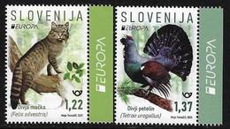 """ESLOVENIA /SLOVENIA /SLOWENIEN  -EUROPA 2021 -ENDANGERED NATIONAL WILDLIFE""""- SERIE De 2 V. - LABEL EUR - B - 2021"""