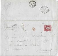 Lettre Double Port De PARIS P/ BELGIQUE 1861  Timbre FR N° 17 Au Filet Cad PARIS E1 - 1849-1876: Periodo Clásico