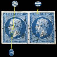 France - Paire Yv.14I 20c Bleu Empire N.d. Type I - Planchés Pos. 089G2 & 090G2 - Obl. Pc 818 (LA CHÂTRE) - B - 1853-1860 Napoléon III
