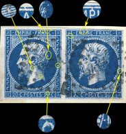 France - Paire Yv.14I 20c Bleu Empire N.d. Type I - Planchés Pos. 039G2 & 040G2 - Obl. Pc 2481 (POITIERS) - TB- - 1853-1860 Napoléon III