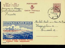 Publibel Obl. N° 1719  ( BLANKENBERGE : Casino- Aquarama - Plage ) Obl. HASSELT - A X A - Du 17/10/60 - Publibels