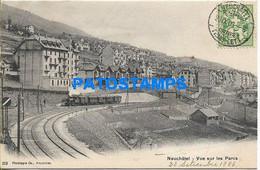 168890 SWITZERLAND NEUCHATEL VIEW PARTIAL & TRAIN CIRCULATED TO BERNE POSTAL POSTCARD - Zonder Classificatie