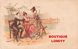 Illustration Illustrateur Pierrot Arlequin  Colombine Cpa Pub Publicité Biscuits Germain Lyon - 1900-1949