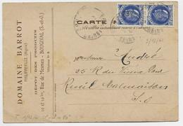 FRANCE PETAIN 40C BLEU PAIRE CARTE PRIVEE DOMIANE BARROT PHILIPPEVILLE ALGERIE DEPOT BOUGIVAL SEINE ET OISE 9.12.1941 - 1941-42 Pétain
