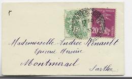 FRANCE N°190+111 VERT JAUNE MIGNONNETTE FACTEUR RECEVEUR ST GEMMES 2.1.1933 - 1921-1960: Modern Tijdperk