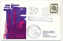 IRAN / BELGIQUE - 2 Enveloppes SABENA - 1ere Liaison Aérienne - BAGDAD - BRUXELLES - 8.7.1976 Et Retour - Iran