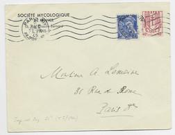 CHAINE 40C + 10C MERCURE LETTRE PARIS 8 FEVR 1945 TARIF IMPRIME TARIF COURT AVEC 40C CHAINE - 1941-66 Wapenschilden