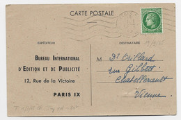 MAZELIN 80C SUL CARTE PRIVEE BUREAU INTERNATIONAL EDITION PUBLICITE PARIS 19 SEPT 1945  AU TARIF - 1945-47 Ceres Of Mazelin