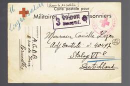 Militaires Belges Prisonniers Bruxelles 4/10/40 !! => Stalag VI F Trèfle à 4 Feuilles Dans La Griffe De Censure + Texte - Lettres