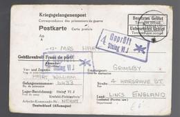Kriegsgefangenenpost Stalag VI J 29 10 41 => Grimsby ( Angleterre ) Fusils Croisés Dans La Griffe De Censure - Seconda Guerra Mondiale