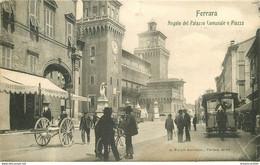 Italia Italie. FERRARA. Angolo Palazzo Comunale E Piazza 1911 Tramway Hippomobile - Ferrara