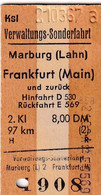 Biglietto Ferroviario Di Treni Tedesco - Anno 1967 - Europa